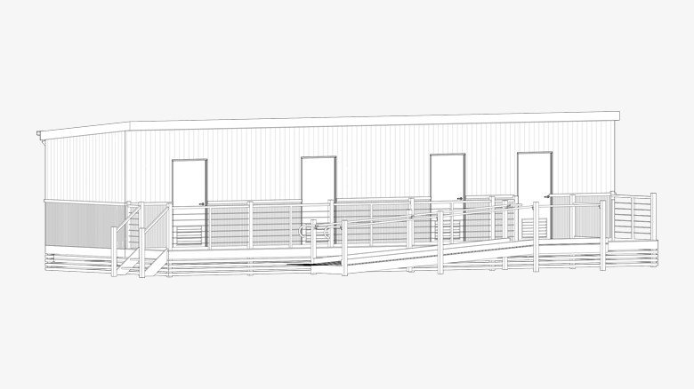 CAD drawing of a portable studio accommodation building