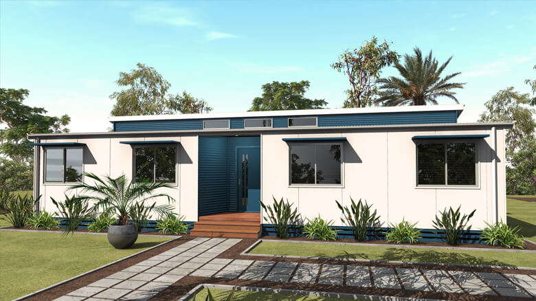 3D render of a 4 bedroom relocatable home